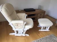 Reclining Rocking chair and stool.