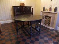Spanish Drop Leaf Gateleg Wooden Table (Early 20th Century)