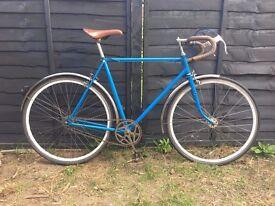 "Vintage Blue Raleigh Single Speed Road Racer Bike 22"" Frame"