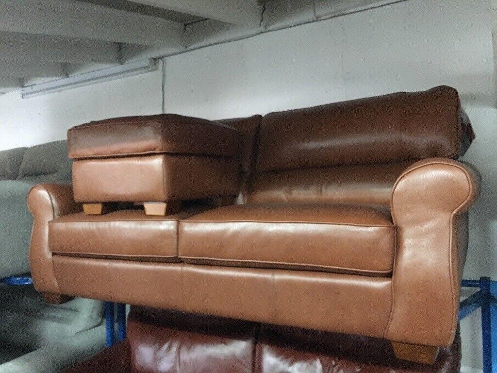 New/Ex Display ScS Elbridge Leather 3 Seater Sofa + Footstool