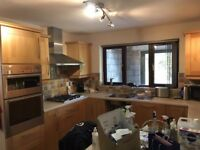 Kitchen cupboards, Including hob, oven, sink small fridge