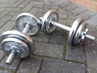 CHROME DUMBBELLS 23KG IN WEIGHT