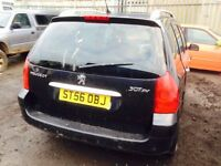 Peugeot 307 estate 2006 year spare parts available bumper bonnet wing light radiator engine gearbox