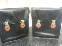 Classic motorcycle panniers, saddlebags, retro, vintage motorbike