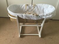 John Lewis White Waffle Moses Basket, Stand and Rocking Stand