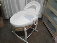 Wicker Moses Basket With Mattress, Cover and Rocking Stand. Like New