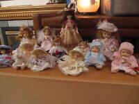 NEW PRICE 10 small porcelain dolls