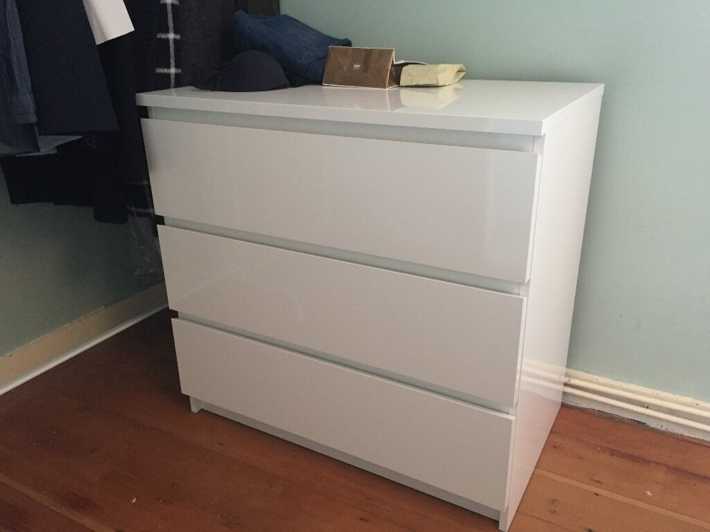 Ikea Malm New In White Chest Of 3 Drawers