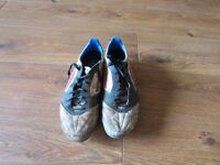 Adidas mi football boots F50 white and blue uk size 8, RRP £80