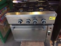 CATERING COMMERCIAL 4 GAS BURNER COOKER STOVE WITH OVEN UNDER TAKE AWAY KITCHEN RESTAURANT KITCHEN