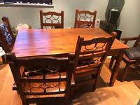 6 seater wooden dining set (also selling matching sideboard)