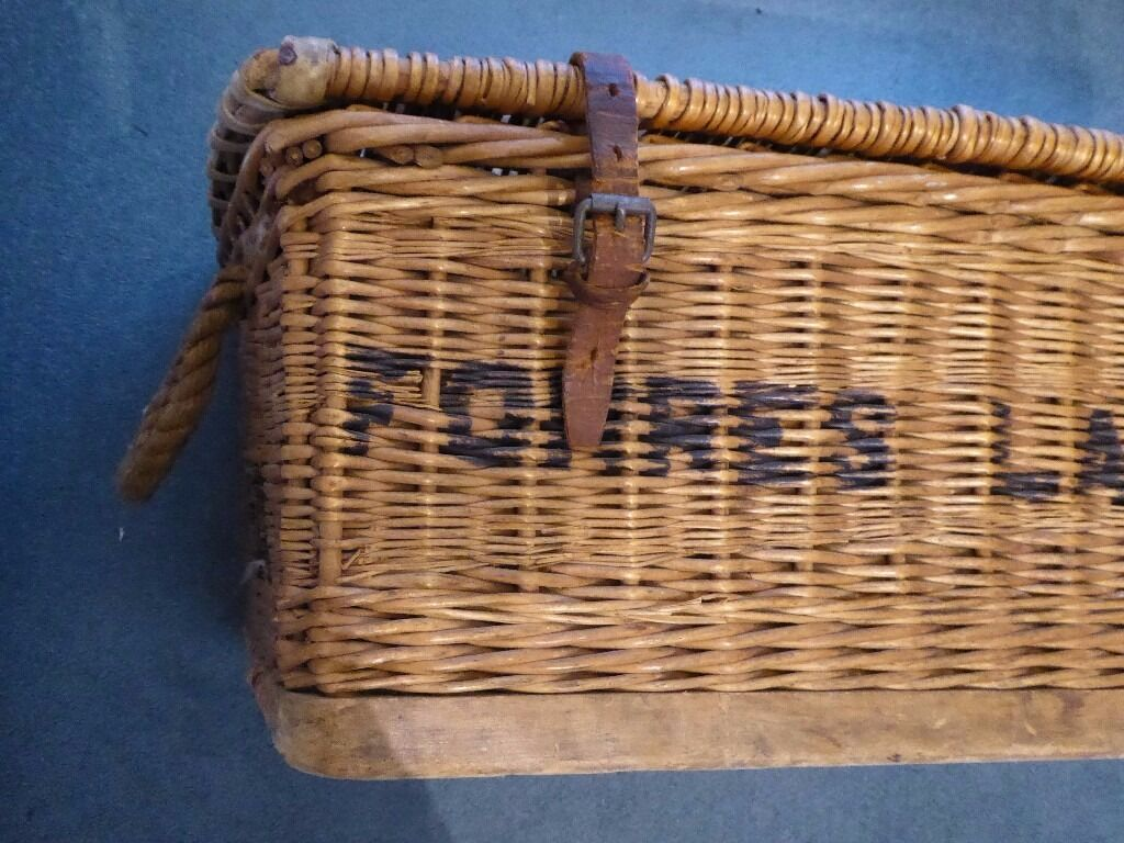 Vintage Large Laundry Wicker Basket Leather Straps Rope Handles