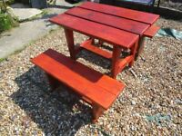BESPOKE HANDMADE NEW GARDEN TABLE AND 2 BENCHES 40ins x 27ins x 31ins. NEWLY MADE