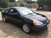 Honda Civic Coupe 1668cc Petrol 5 speed manual 2 door Coupe Y reg 27/06/2001 Black