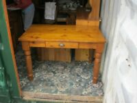 STURDY SOLID PINE FARMHOUSE TABLE WITH DRAWER. RECTANGULAR. VIEWING / DELIVERY AVAILABLE