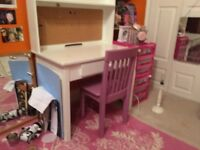 White children's / kids GLTC desk and pink chair