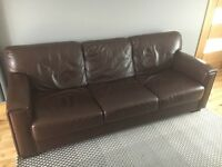 Leather sofa - chocolate brown, 4 seater!