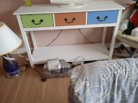 3 DRAWER CONSUL TABLE WITH STORAGE BELOW