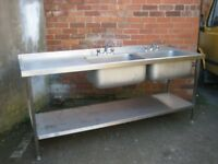 Double bowl commercial sink left hand drainer like new.