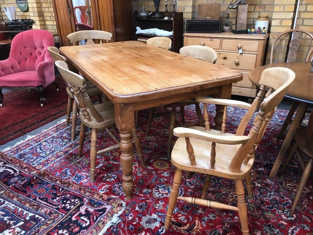Large pine farmhouse table and chairs.