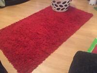 Red ruffle rug