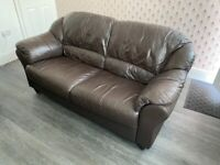 Brown leather three-piece suite