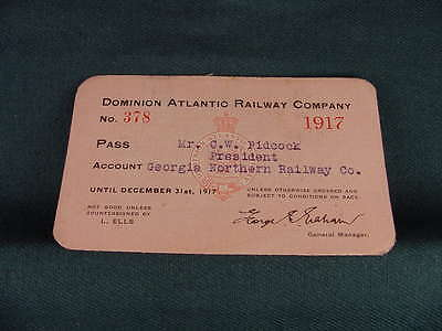 1917 Dominion Atlantic Railway Company Railroad Annual Pass No 307