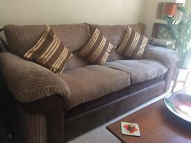 Brown beige cord 3 seater sofa