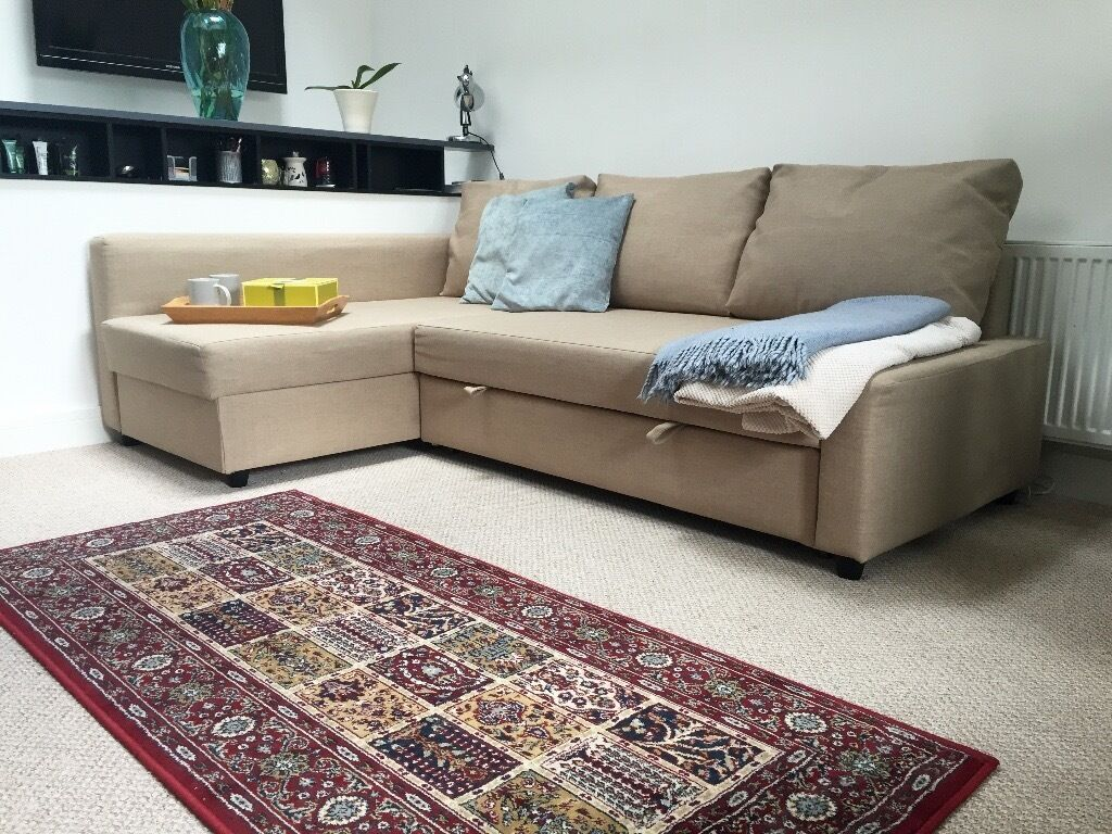 Friheten Corner Sofa Bed With Storage Skiftebo Beige