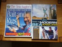 Guide to modern sea angling + bait and rigs book plus pocket rig guide and sea angling magazines.