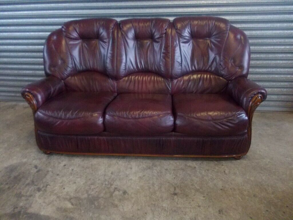Surprising Burgundy Italian Leather 3 1 1 Suite Sofa In Belfast City Centre Belfast Gumtree Machost Co Dining Chair Design Ideas Machostcouk
