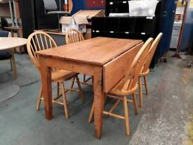 Farmhouse Wide Plank Pine Drop Leaf Dining Table With Drawer. 4 Chairs