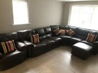 Brown leather corner sofa, chair and pouffe