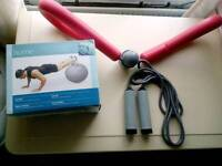 Gym/yoga ball, thigh master and skipping rope. £15 ovno.