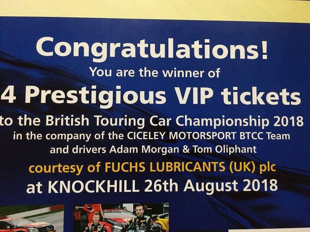 Vip Tickets To The British Touring Car Championship 2018 26th