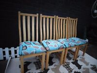 4 PINE DINING CHAIRS ALL IN EXCELLENT CONDITION £60