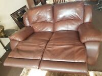 Leather sofa 2 seater with recliner seats