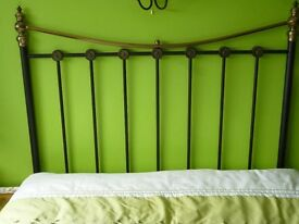 4ft 6in Bed Head in Matt Black and Antique Brass