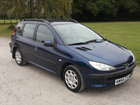 2004 PEUGEOT 206 SW 1.4, MOT JUNE 2017, ONLY 74,000 MILES, ONLY £595