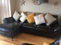 Leather 3 seater chaise sofa, swivel egg chair plus swivel footstool