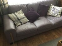 3 seater leather sofa mauve colour