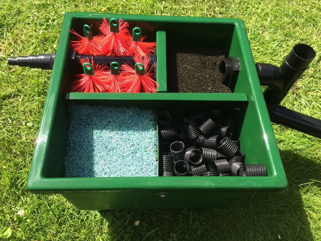 Koi pond vortex filter boxes aerator and uv light in for Koi pool lancashire