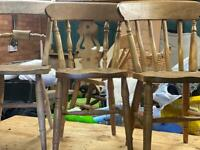FIVE PINE DINING CHAIRS