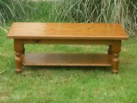 Solid Antique Pine Coffee Table With Shelf.