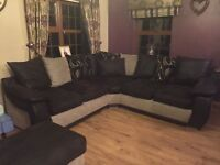 Half leather corner suite matching2seater and large footstool