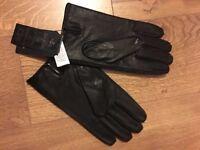 Harris Tweed - Men's gloves - Brand New - Color: Black leather/Grey Tweed - Size XL