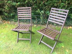 Garden chairs folding hardwood good quality & condition