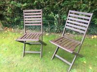 Garden chairs folding hardwood good quality & condition