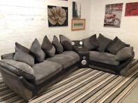 Large corner sofa with audio docking stations built in sound speakers