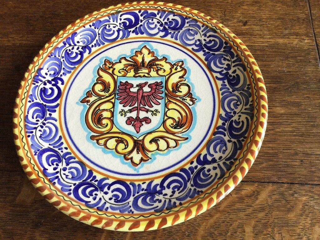 A decorative hand painted plate